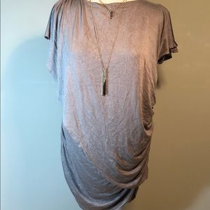 Willismith taupe flutter sleeve gather stretch top